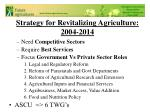 strategy for revitalizing agriculture 2004 2014