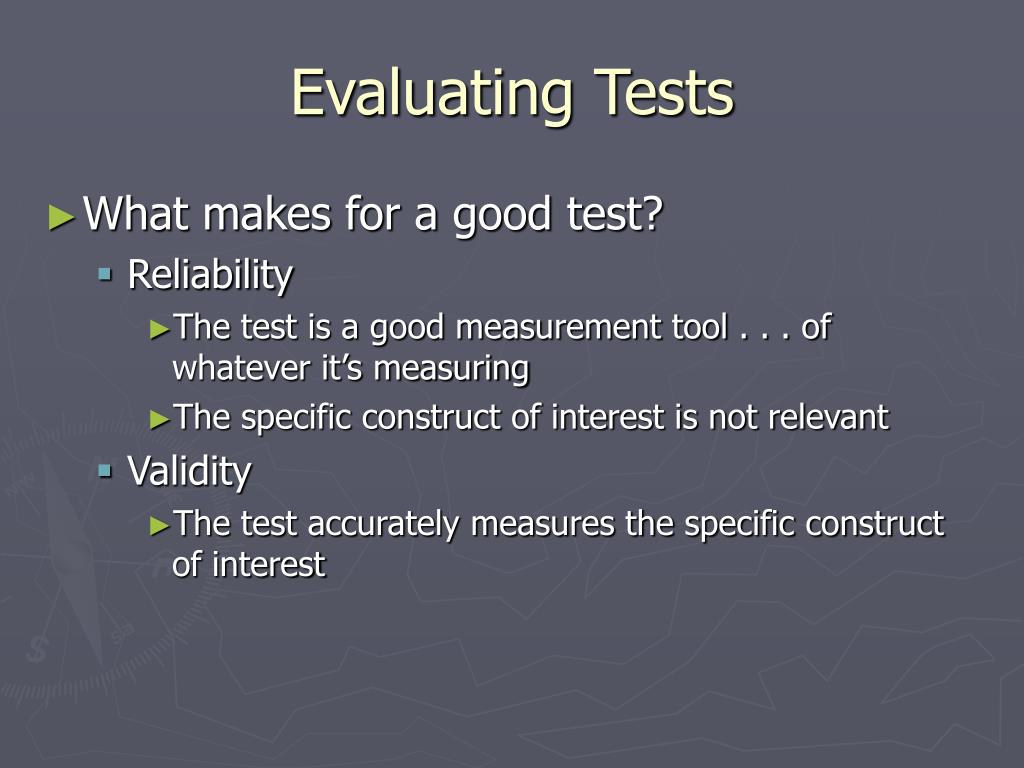 Evaluating Tests