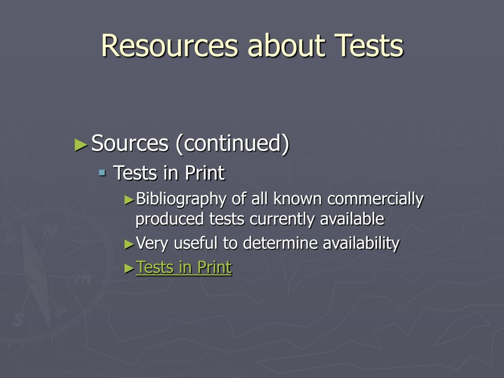 Resources about Tests
