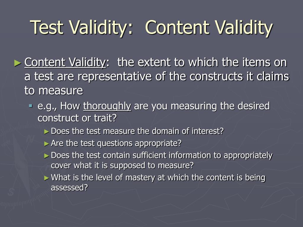 Test Validity:  Content Validity