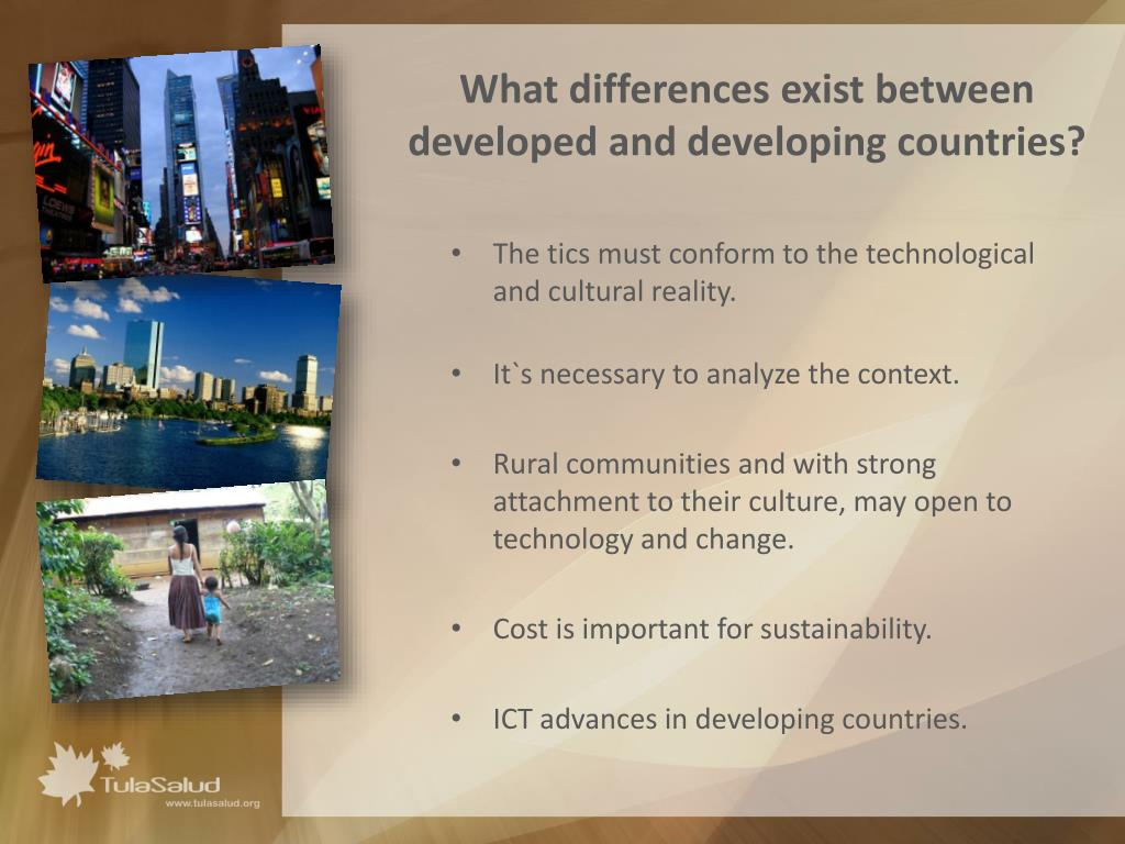 What differences exist between developed and developing countries?