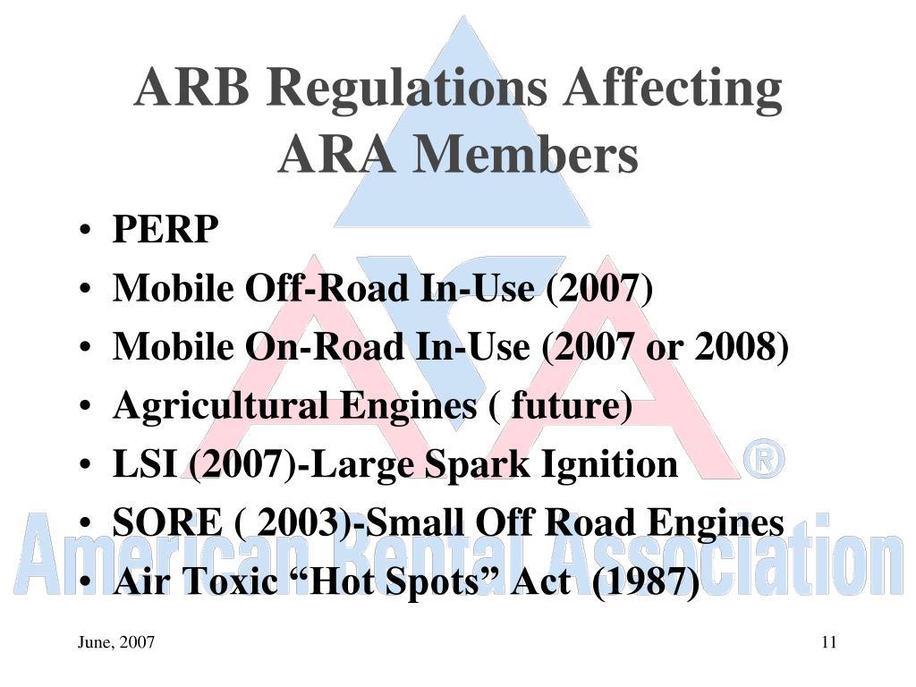ARB Regulations Affecting ARA Members