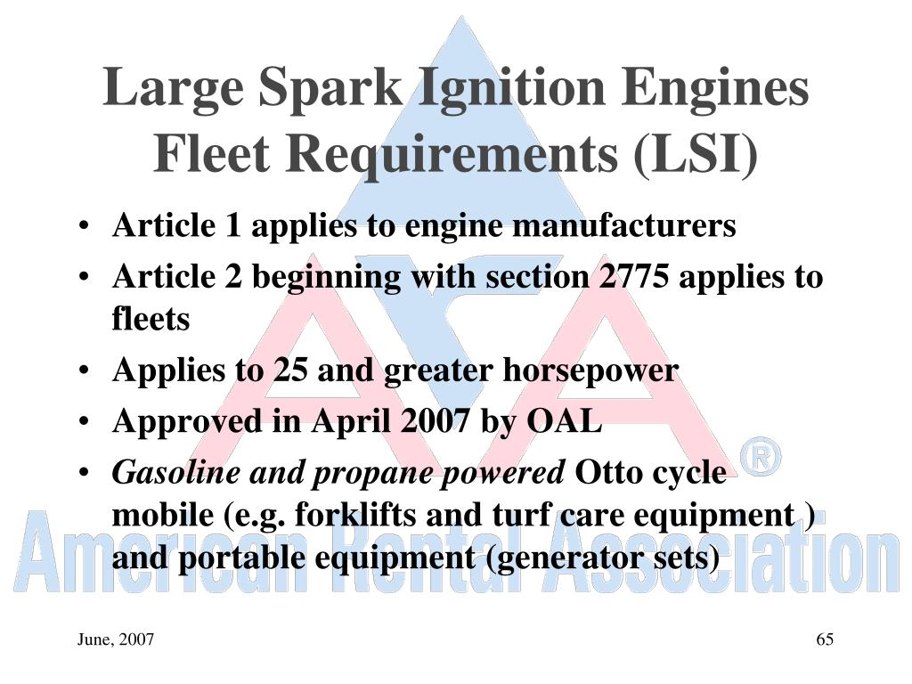 Large Spark Ignition Engines Fleet Requirements (LSI)