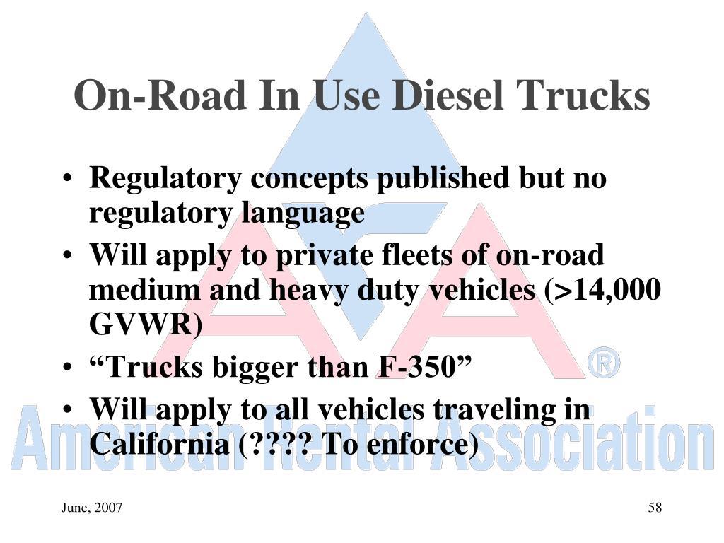 On-Road In Use Diesel Trucks
