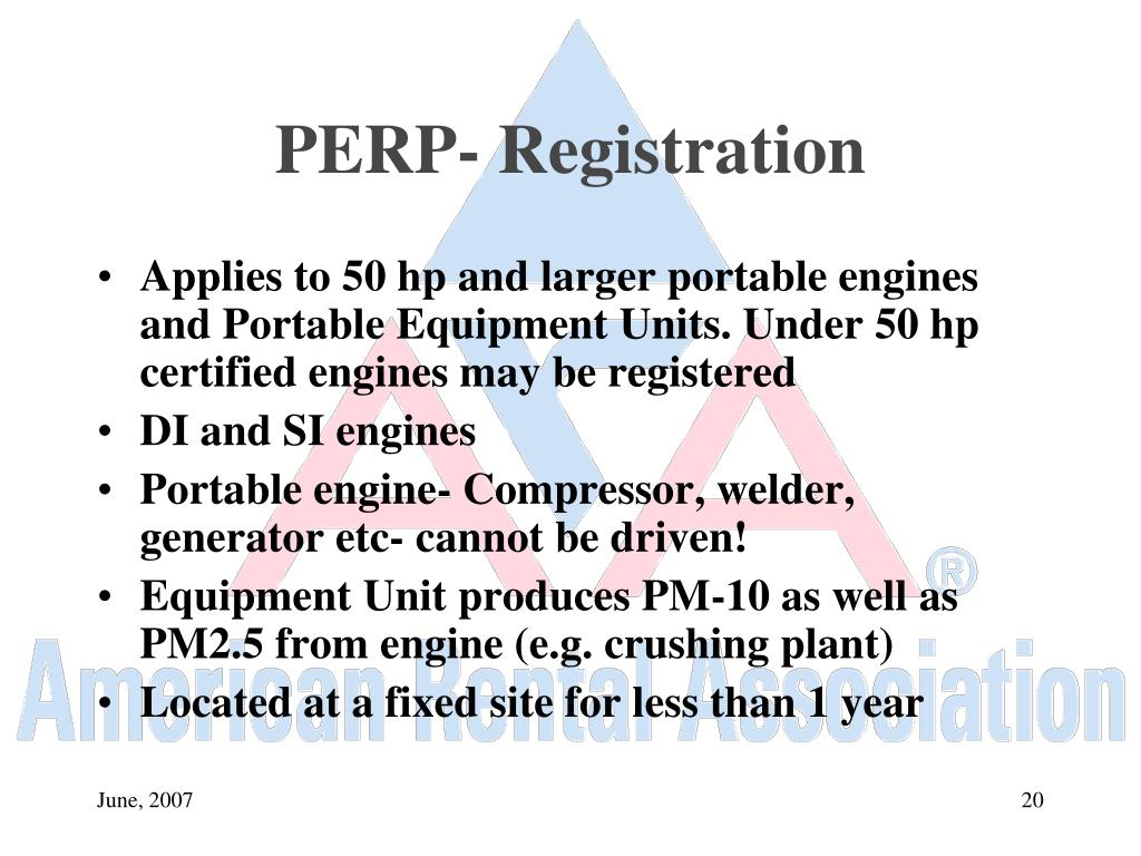 PERP- Registration