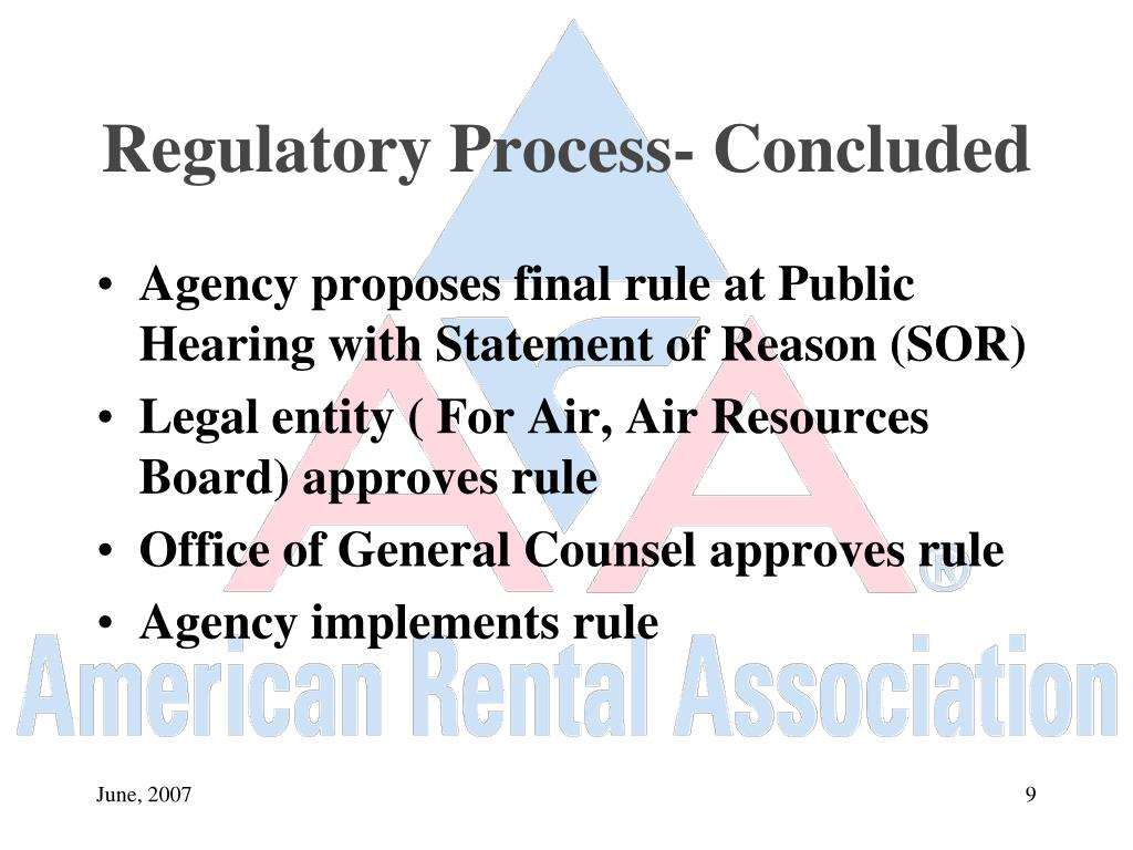 Regulatory Process- Concluded