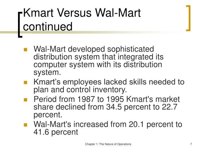 Kmart Versus Wal-Mart continued