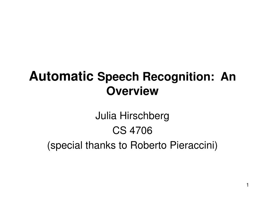 automatic speech recognition an overview l.