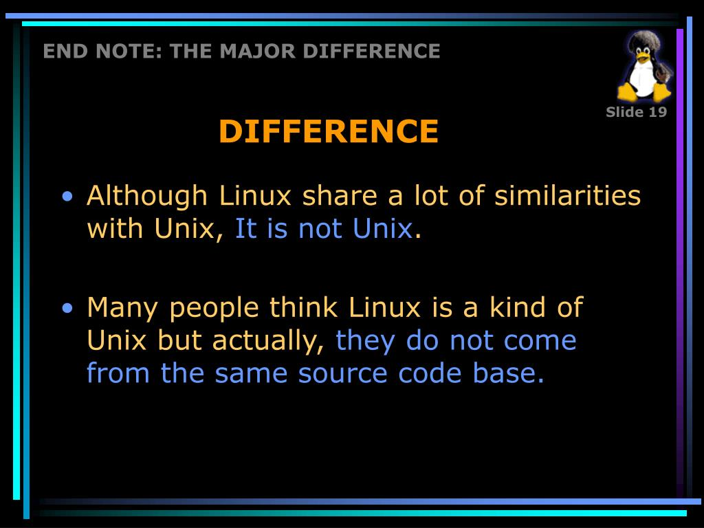 END NOTE: THE MAJOR DIFFERENCE