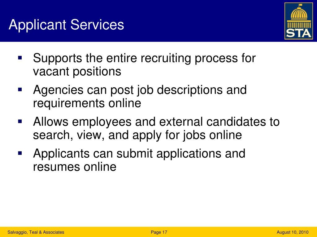 Applicant Services