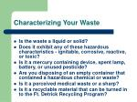 characterizing your waste