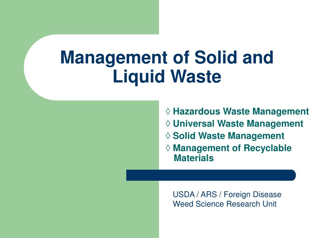 management of solid and liquid waste l.
