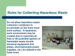 rules for collecting hazardous waste14