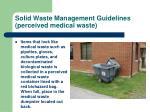 solid waste management guidelines perceived medical waste