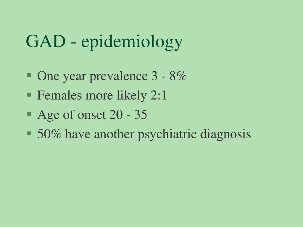 GAD - epidemiology