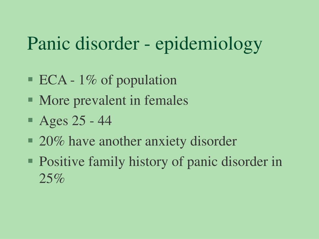 Panic disorder - epidemiology