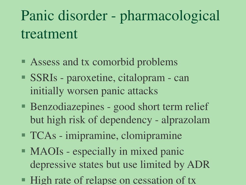 Panic disorder - pharmacological treatment