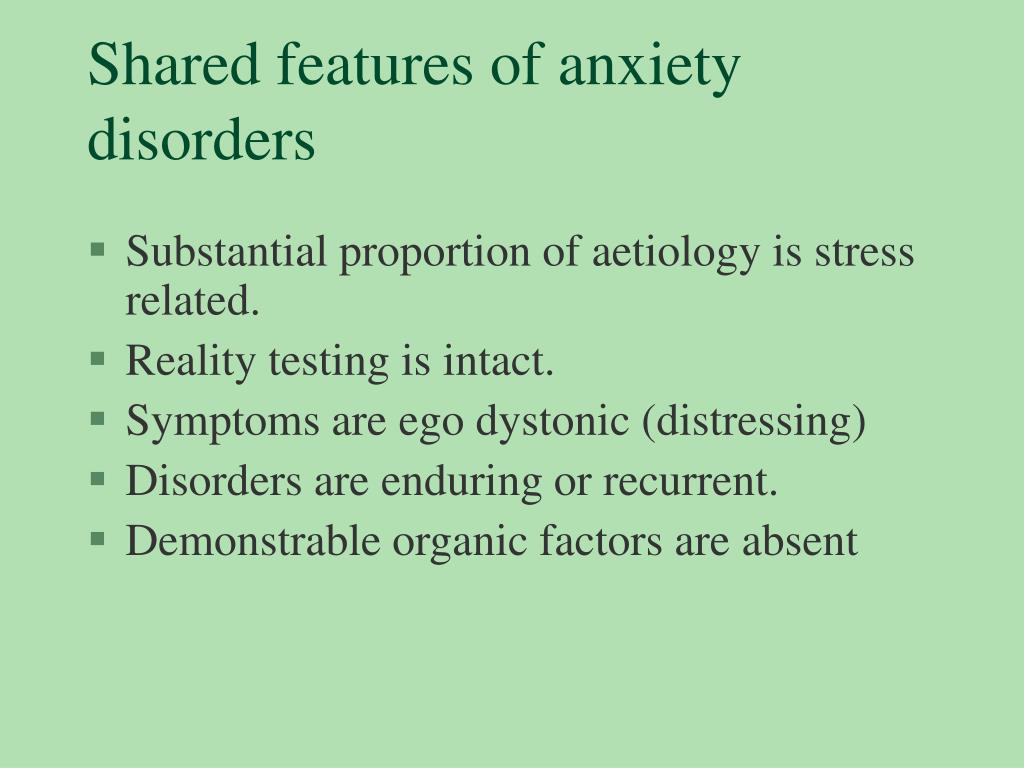 Shared features of anxiety disorders