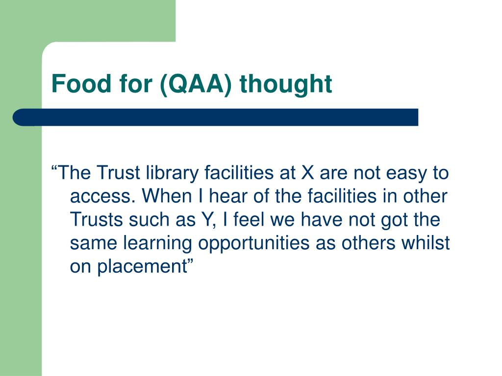Food for (QAA) thought