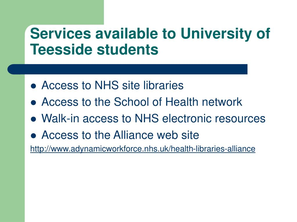 Services available to University of Teesside students