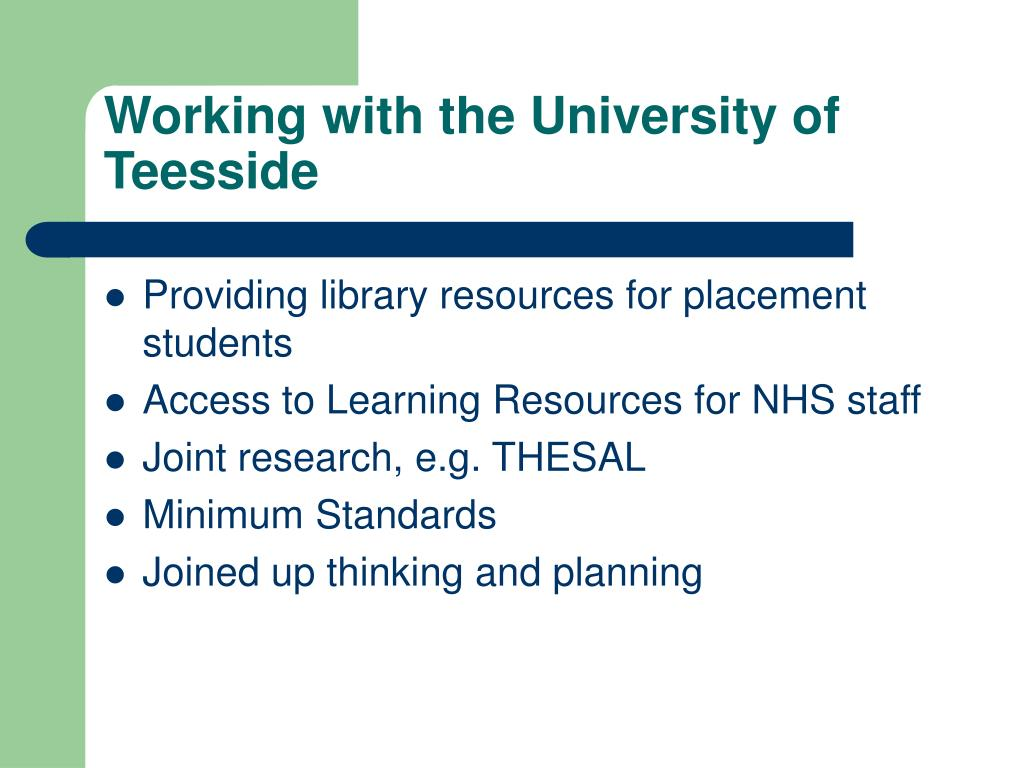 Working with the University of Teesside
