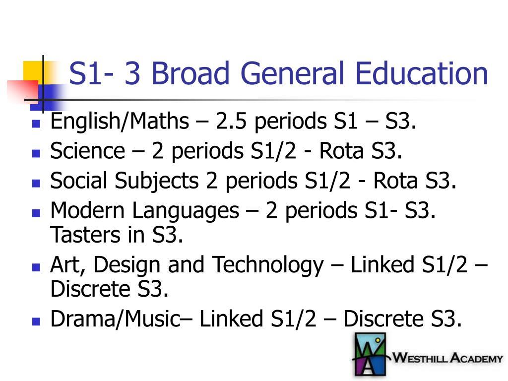 S1- 3 Broad General Education