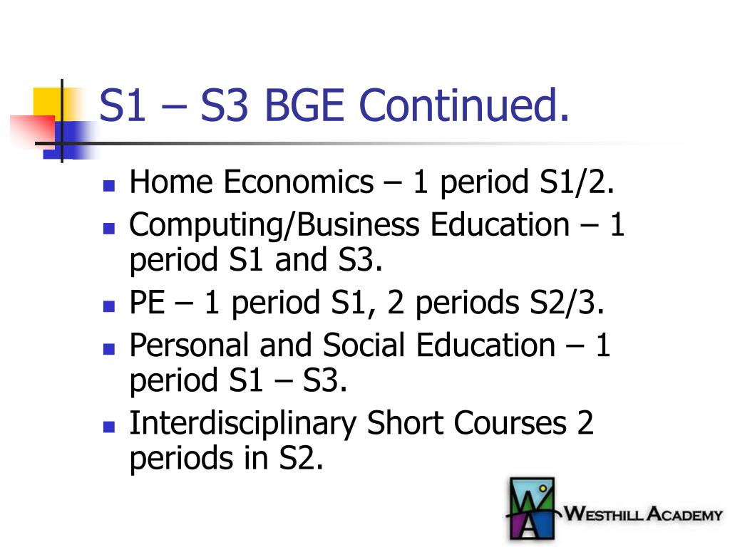 S1 – S3 BGE Continued.