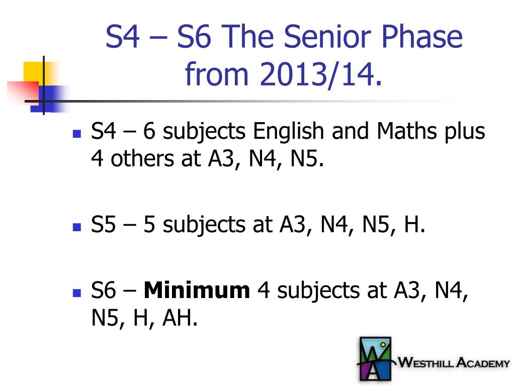 S4 – S6 The Senior Phase from 2013/14.