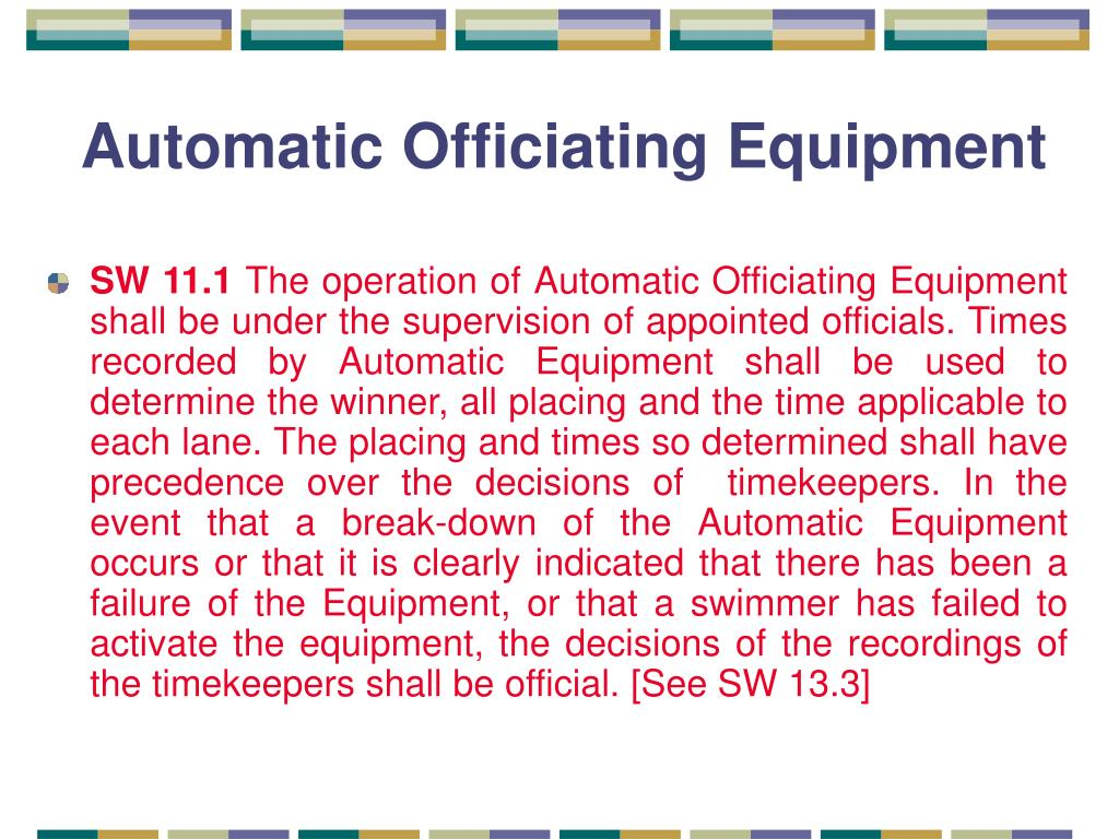 Automatic Officiating Equipment