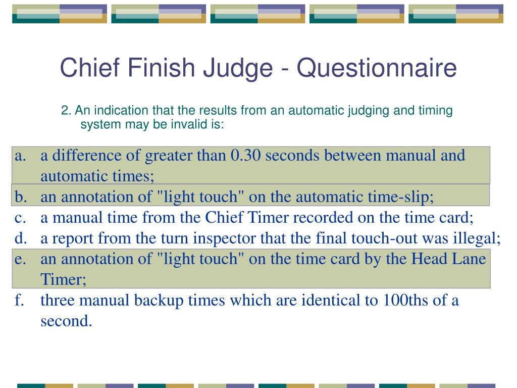 Chief Finish Judge - Questionnaire