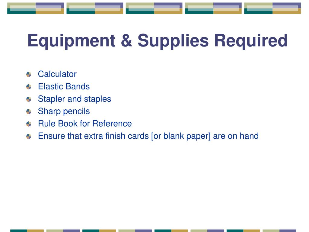 Equipment & Supplies Required