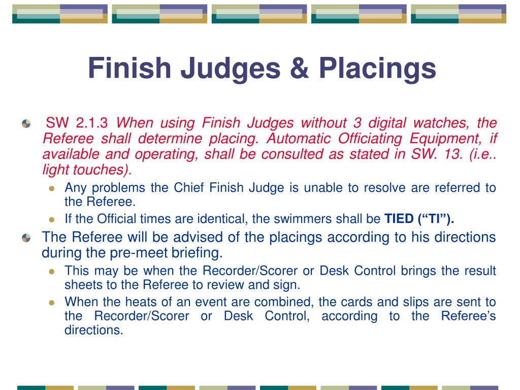 Finish Judges & Placings