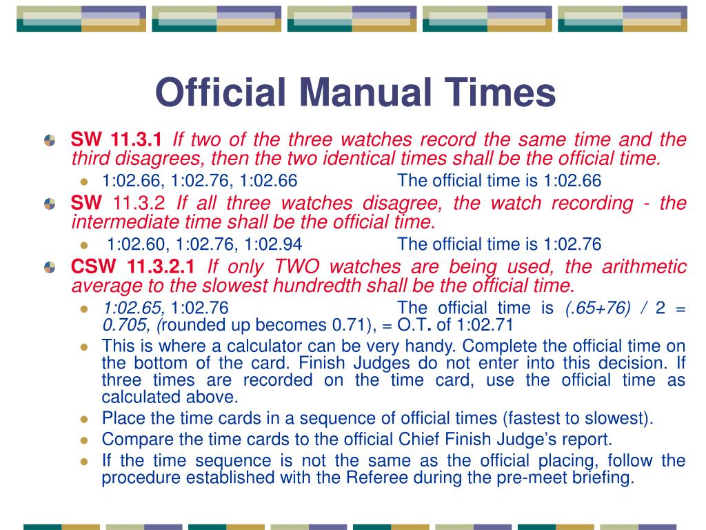 Official Manual Times