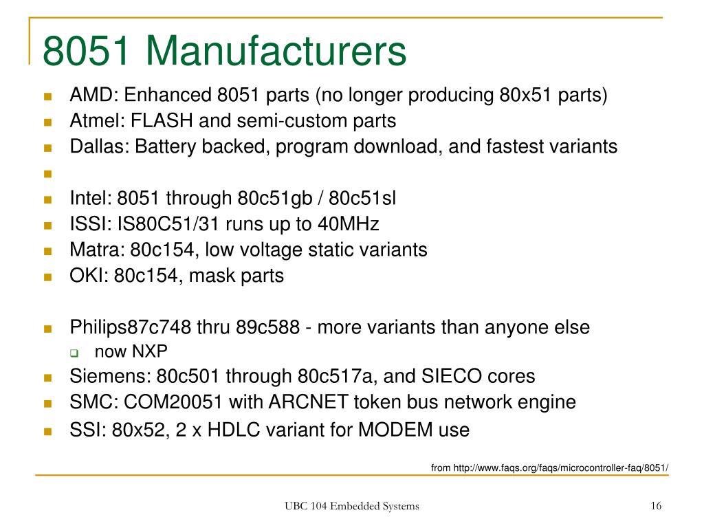 8051 Manufacturers