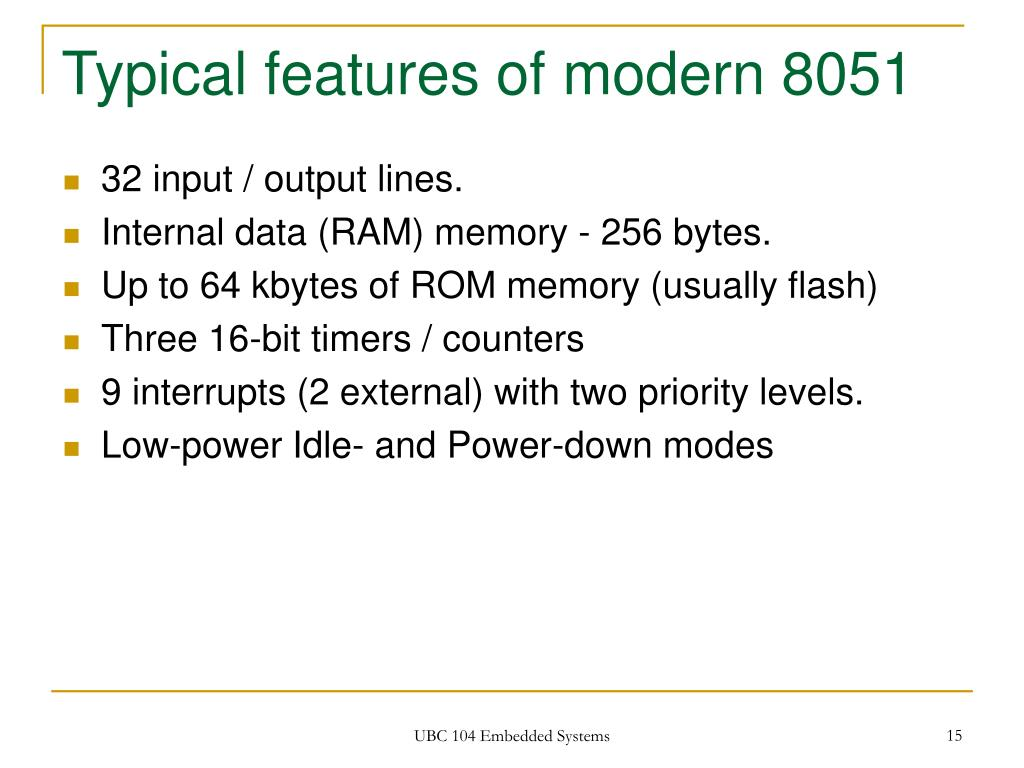 Typical features of modern 8051