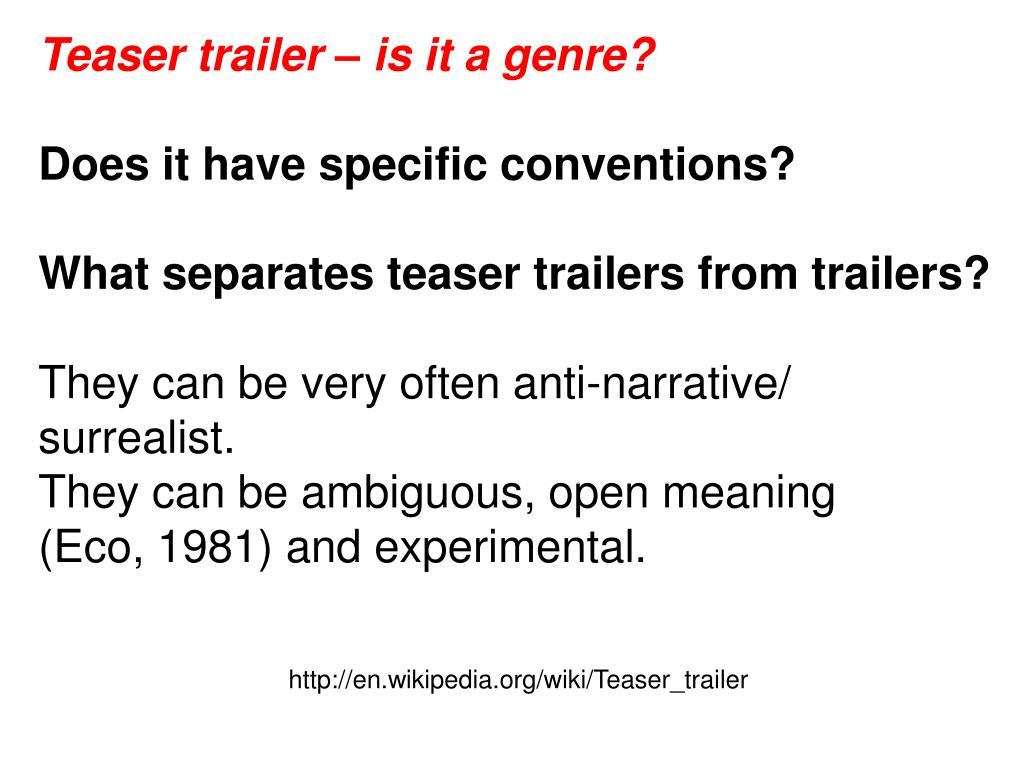 Teaser trailer – is it a genre?