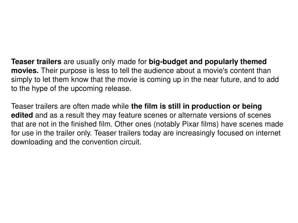 Teaser trailers