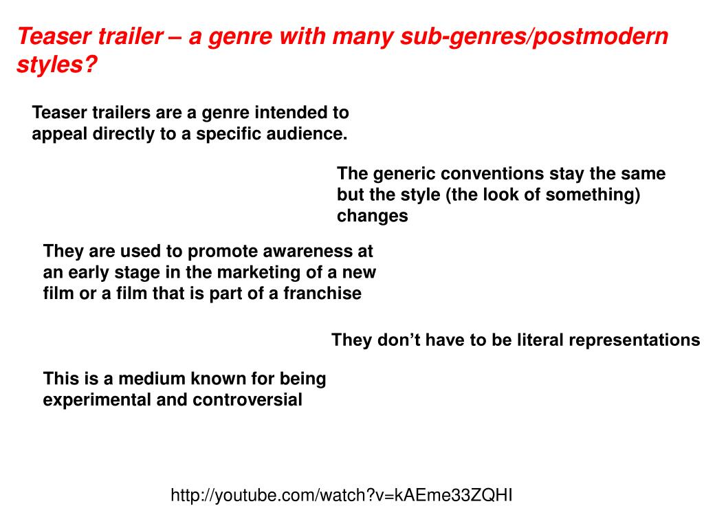 Teaser trailer – a genre with many sub-genres/postmodern styles?