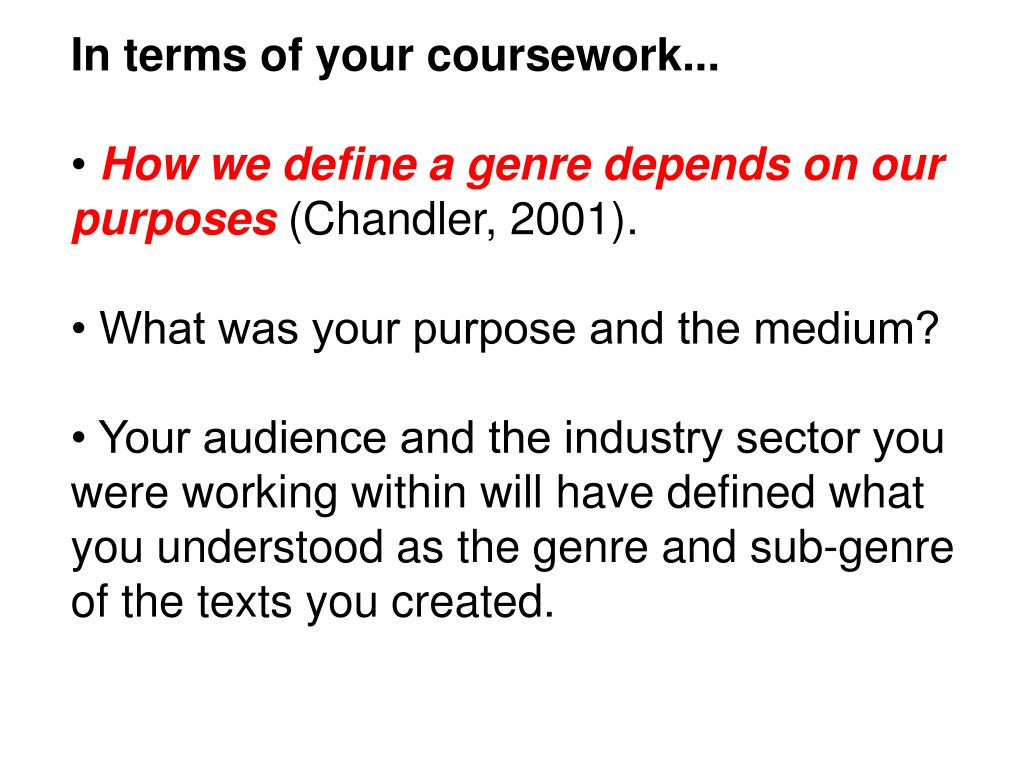 In terms of your coursework...