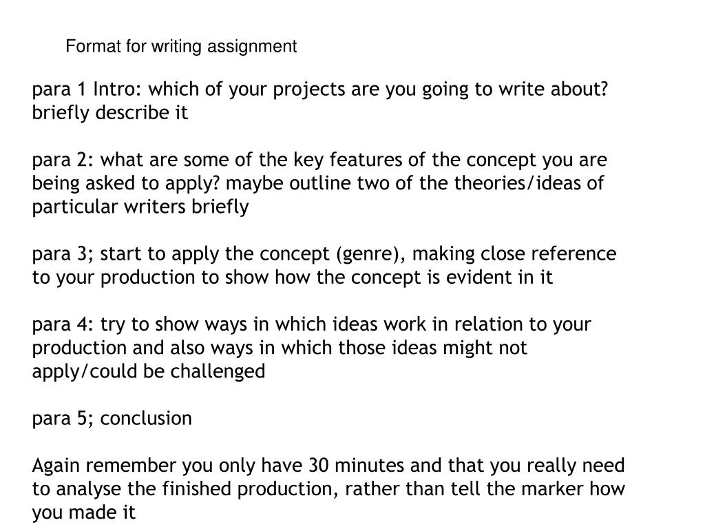 Format for writing assignment