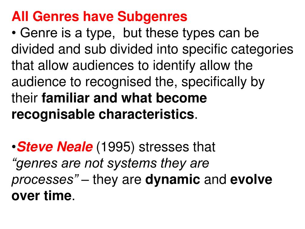 All Genres have Subgenres
