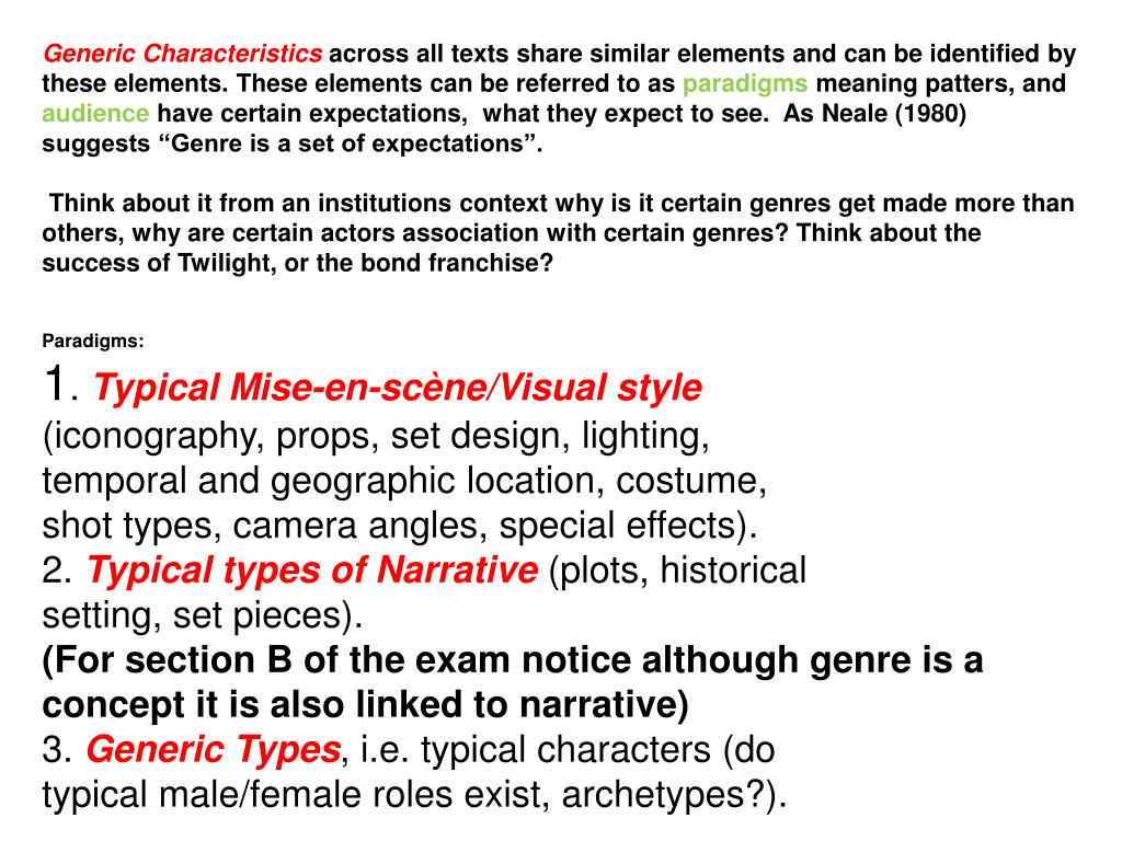 Generic Characteristics