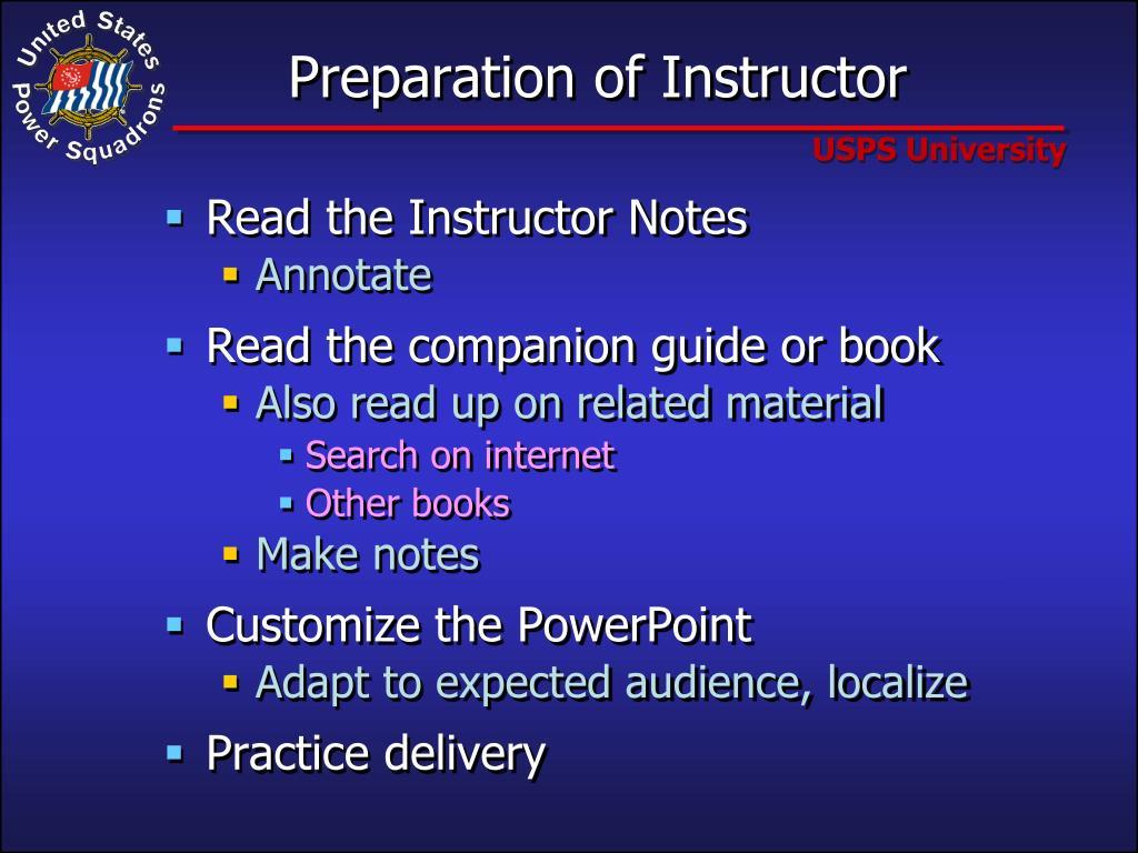 Preparation of Instructor