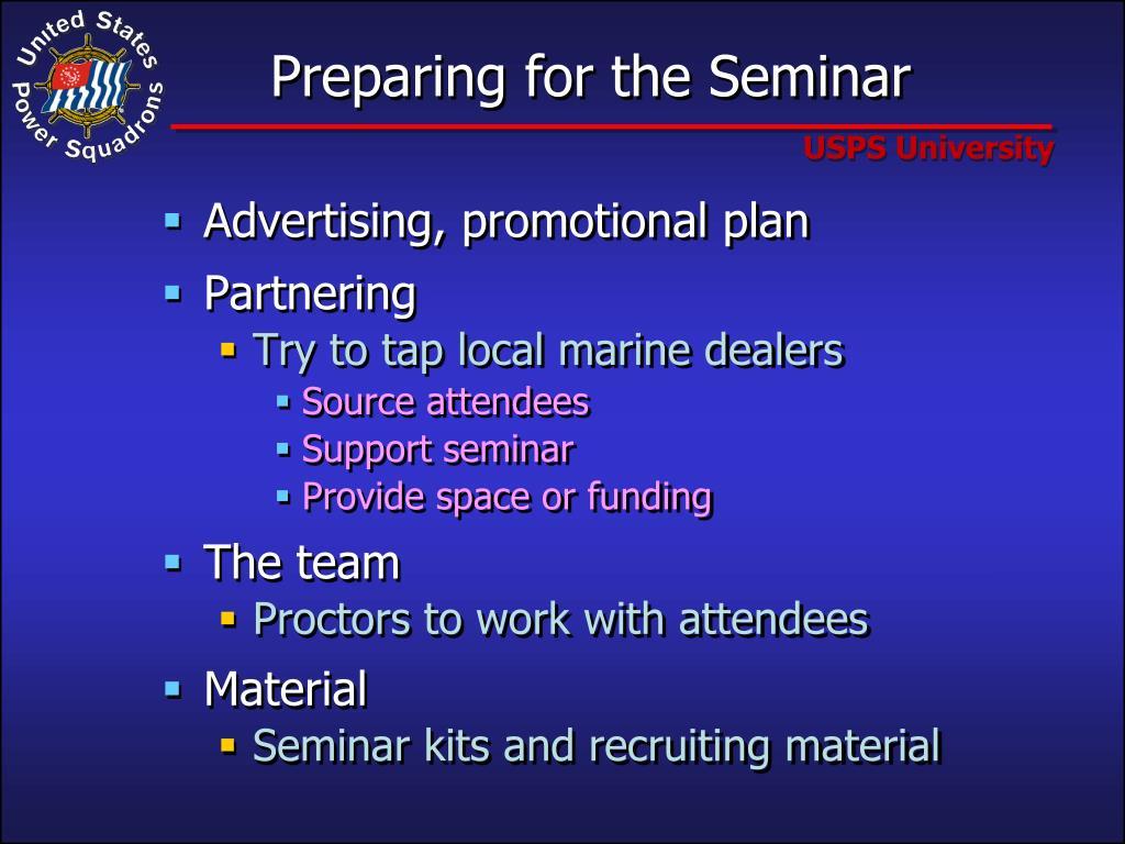 Preparing for the Seminar