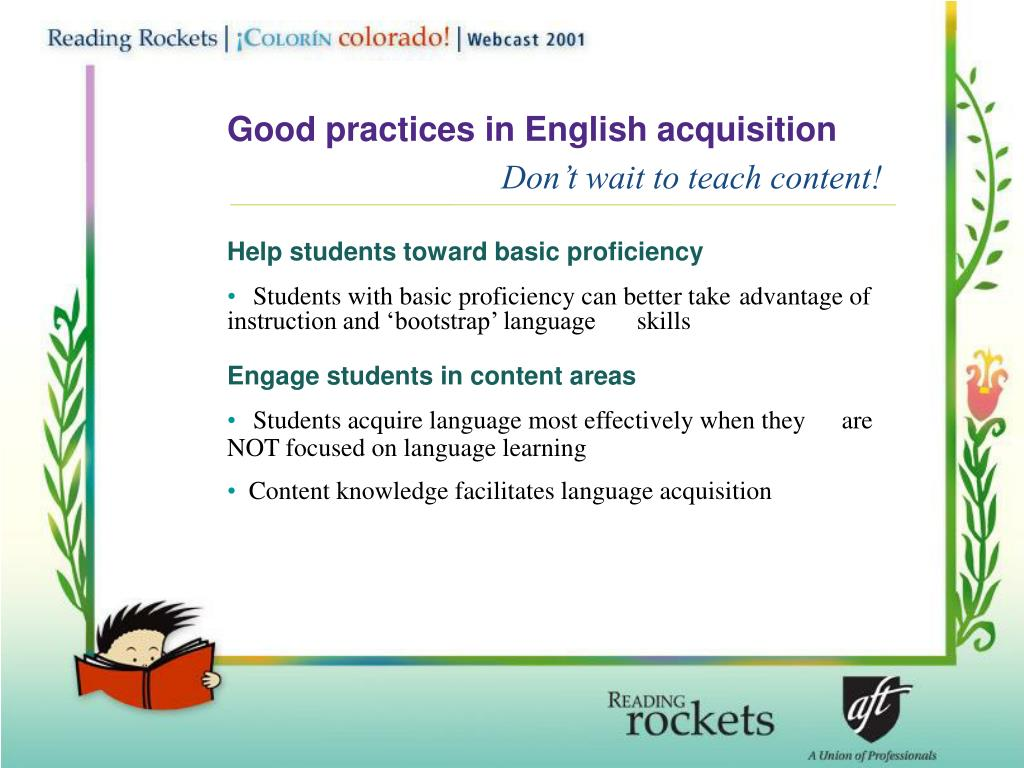 Good practices in English acquisition
