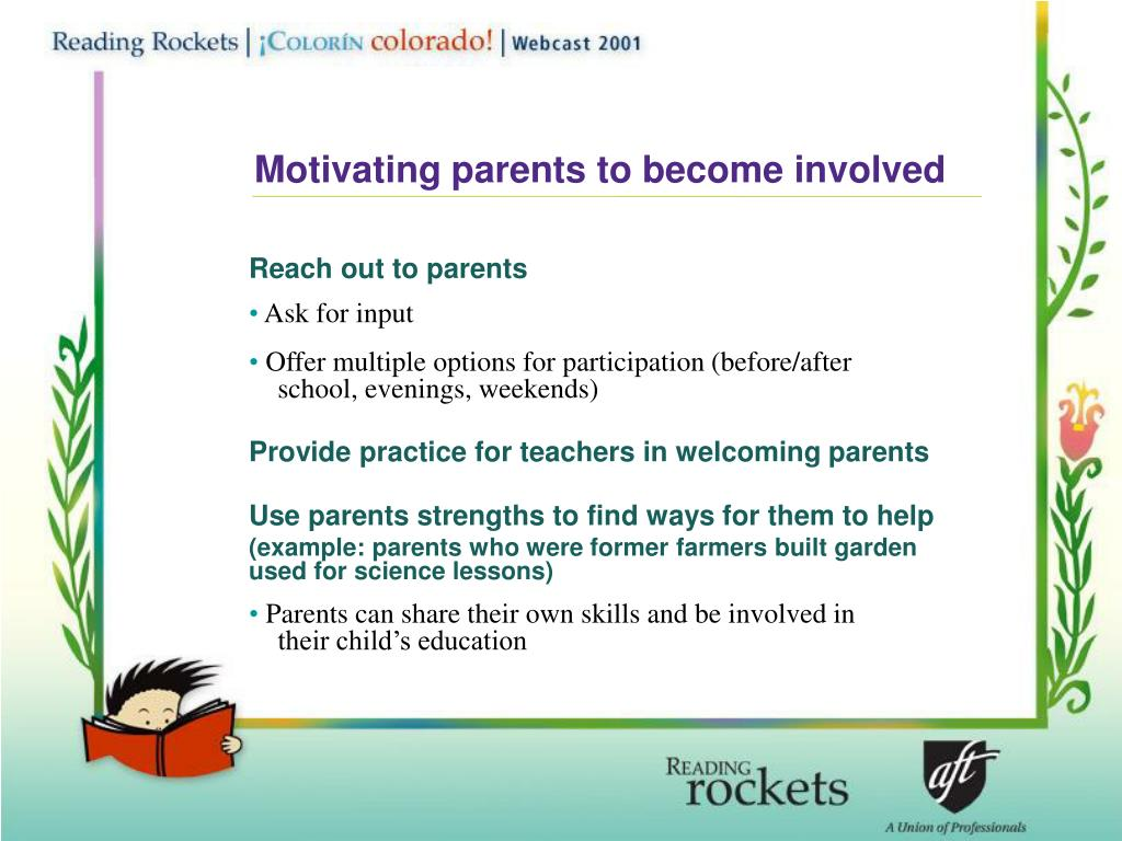 Motivating parents to become involved