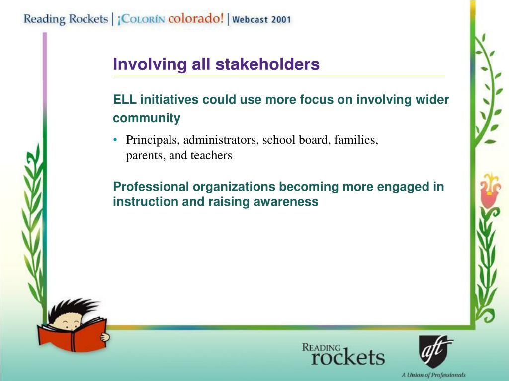 Involving all stakeholders