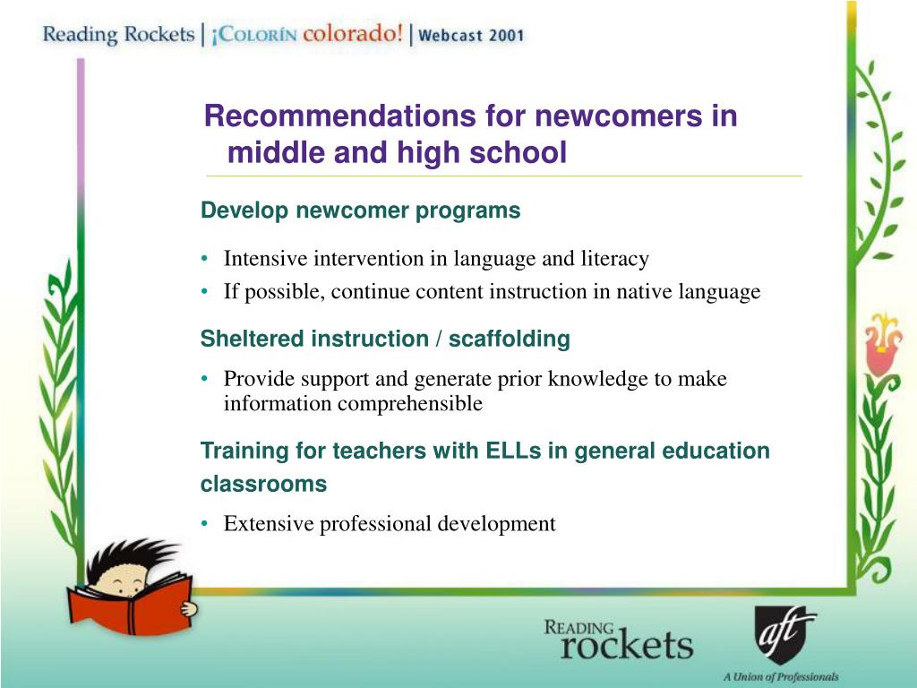 Recommendations for newcomers in middle and high school