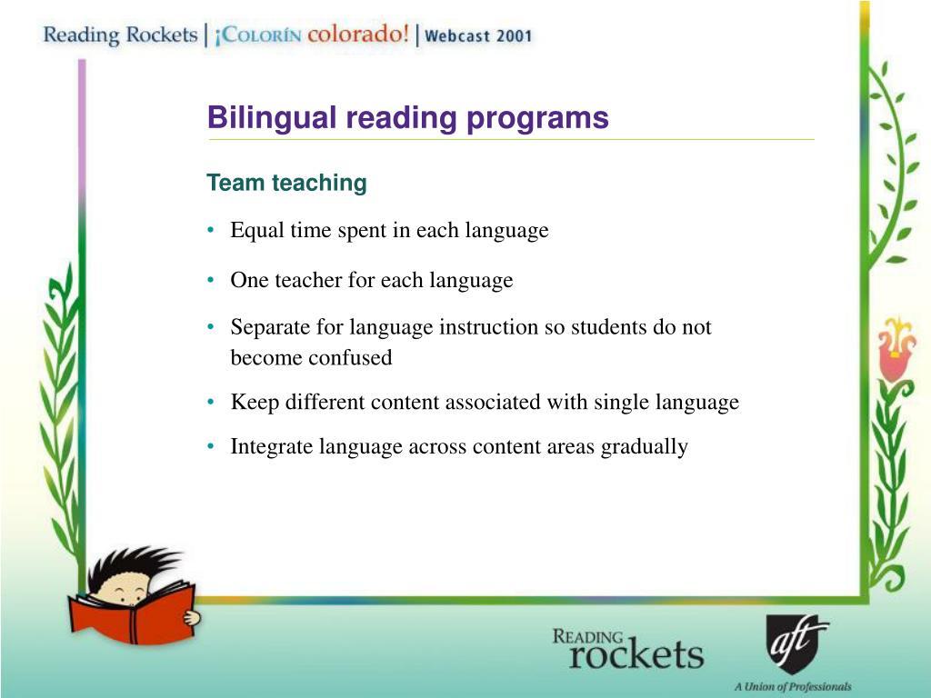 Bilingual reading programs