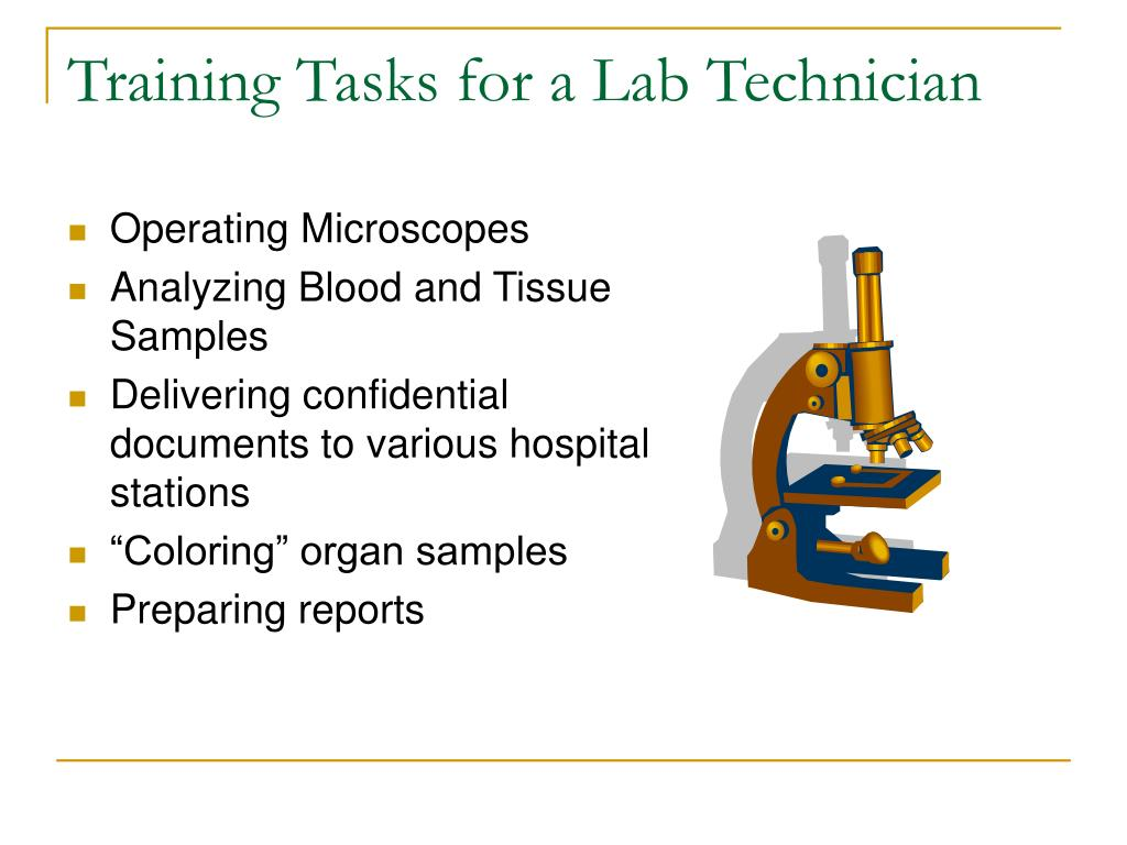 Training Tasks for a Lab Technician